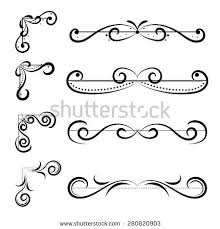 decoration drawing set of page decoration line drawing design elements vine dividers in black color vector decoration drawing