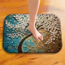2018 new entrance doormat 3d tree printed mat 3d leaves carpet for bedroom bath kitchen door non slip mat rugs home decor replacement cushions for