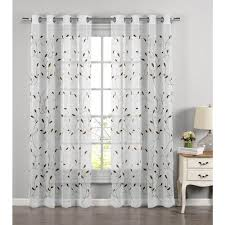 window elements sheer wavy leaves embroidered sheer sage grommet extra wide curtain panel 54 in