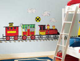 ... Cheerful Interior Design Ideas For Kids Room Themes : Breathtaking Train  Wall Sticker In Kids Bedroom ...