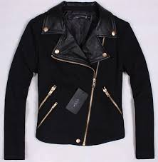 au women s pu wool leather collar gold zipper jacket coat trench parka outwear on the hunt