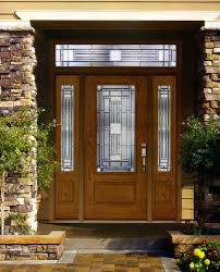wooden front doors with glass side panels