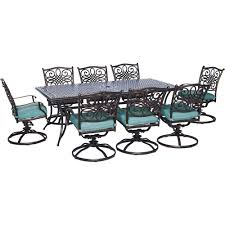 Hanover Traditions 9-Piece Outdoor Rectangular Patio Dining Set ...