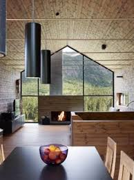 mflikes interior design a modern pine filled cabin with a gl wall and fireplace