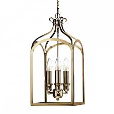 hall lantern aged brass and glass box shaped light