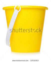 yellow toy bucket isolated on white background