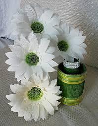 Daisy Paper Flower 6 Paper Gerbera Flowers Gerbera Daisy White Paper Flowers Weddings