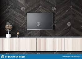 Wall Design For Flat Screen Tv Flat Screen Tv On Black Living Room Wall Stock Illustration