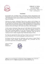 press release issued by the emby of nepal brussels on the presentation of credentials by h e mr lok bahadur thapa ambador to the kingdom of the