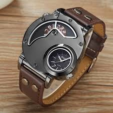 Big Face Designer Watches Us 11 49 44 Off Top Brand Luxury Oulm Men Watches Stainless Steel Big Face Dual Time Leather Quartz Watch Mens Watches Relogio Masculino In Quartz