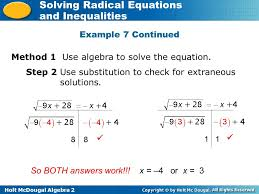 holt mcdougal algebra 2 solving radical equations and inequalities method 1 use algebra to solve the