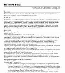 Travel Operations Specialist Resume Example United Nations