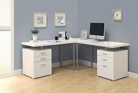 white office cabinet with doors. L-Shaped Double Pedestal White Office Desk With Floating Top Cabinet Doors