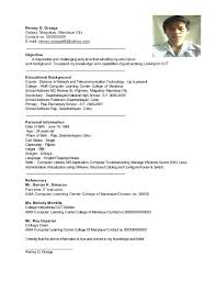 Sample Resume For Ojt Accounting Students Good Examples College