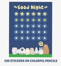 Cute Kids Sleeping Chart Good Night Chart Toddler Sleep Reward Chart Printable Good Night Chart 48 Reward Stickers Sleep Star Chart