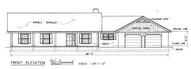 country ranch home plan front view