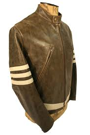 x men 1 wolverine style leather jacket with cream stripes as worn by
