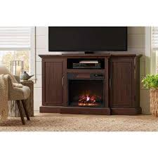 mattingly 60 in freestanding media console electric fireplace tv stand in midnight cherry