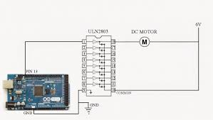control dc motor using arduino and uln2803 Â funny electronics circuit diagram to control a dc motor using arduino and uln2803 is given below