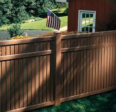 Vinyl fence designs Unique Vinyl Wood Colored Vinyl Fence Uke Trio Pictures Of Fences Types Of Fences With Pictures