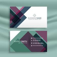 Business Card Presentation Template With Abstract Colorful Shape