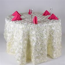 ivory 132 round rosette satin tablecloths
