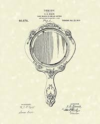 hand mirror drawing. Mirror Drawing - Beach Hand 1910 Patent Art By Prior Design