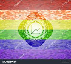 Chart Icon Inside Emblem On Mosaic Stock Vector Royalty