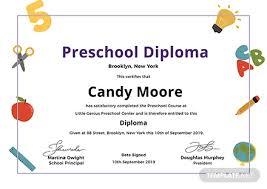 Free Preschool Diploma Certificate Template Word Psd