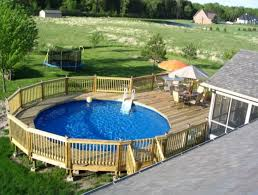 a round above ground pool with decks images of above ground pool decks96