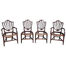 eight american hepplewhite gany shield back dining room chairs circa 1820
