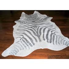 stencil zebra silver skin cowhide rug