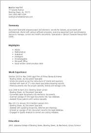 Resume Templates: Document Specialist
