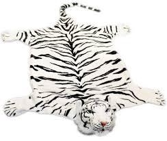 extra large giant plush tiger skin faux fur rug white