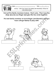Members Of The Family Finger Puppets Esl Worksheet By