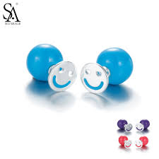 <b>Sa Silverage</b> Direct Selling Smiley Face Amber Girls Stud Earring ...