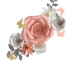 Pink Paper Flower Decorations Fonder Mols 3d Paper Flowers Decorations For Wall Pink Gray Set Of 6 For Girl Baby Shower Flowers Decorations Girl Nursery Flowers Decor Wedding