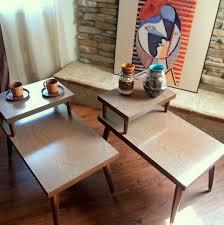 mid century modern end tables vintage