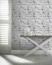 arthouse brick effect brown white old weathered rustic whitewashed wallpaper