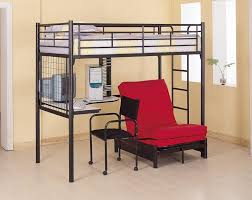metal bunk bed with futon and desk