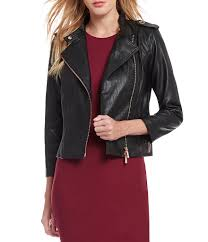 jackets womens armani exchange faux leather rose gold hardware moto jacket solid black gift to live