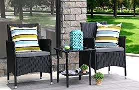 rattan garden furniture with black cushions. baner garden 3 pieces outdoor furniture complete patio cushion pe wicker rattan dining set, with black cushions t