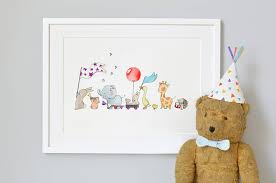 Personalised Animals On Parade Nursery Print
