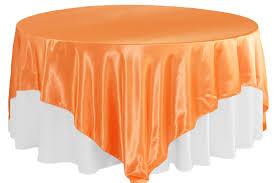 square 90 x90 satin table overlay orange