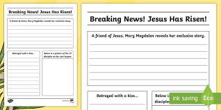 Easter Story Newspaper Writing Template Cfe Easter Easter