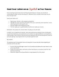 The Purpose Of A Cover Letter Is To Simple Resume Format Impressive Purpose Of A Resume