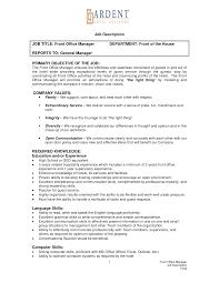 Job Description Job Title Front Office Manager Reports To Hotel ... job description job title front office manager reports to: hotel front office manager resume samples