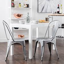 belleze 2pc modern style dining chairs w back stackable chairs silver