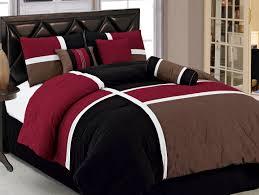 King Bedroom Bedding Sets 7pcs Burgundy Brown Black Quilted Patchwork Bed In A Bag Comforter