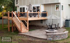 concrete patio with square fire pit. Leeder - Cedar Deck In Kansas City With Stamped Concrete Patio And Firepit. Traditional- Square Fire Pit